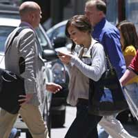 Texting while walking make you walk slower and swerve